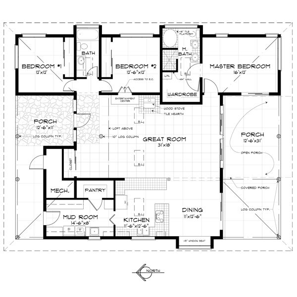 Country style house plan 3 beds 2 baths 1920 sq ft plan for Single floor country house plans