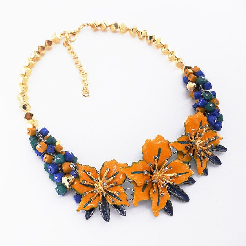 Necklaces : Statement Yellow Floral Choker