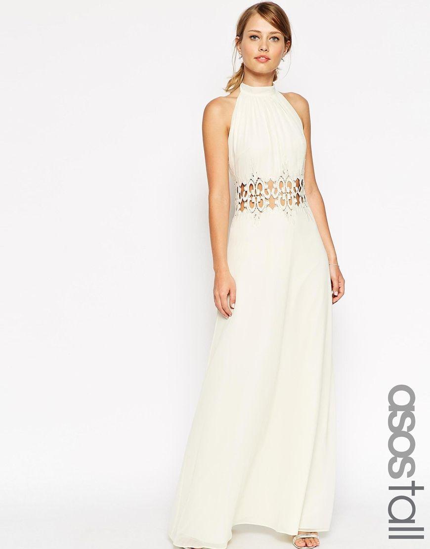ASOS TALL Halter Lace Insert Maxi Dress | Sorority initiation ...