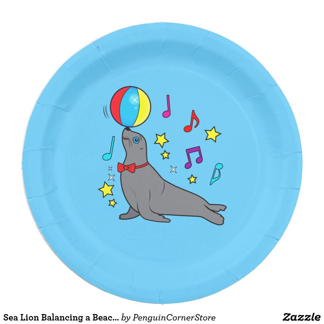 sea lion balancing a beach ball with musical notes paper plate