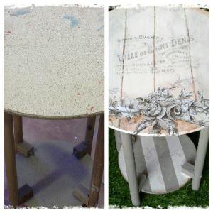 Decoración de mesa camilla con chalk paint, papel decoupage y transferencia.