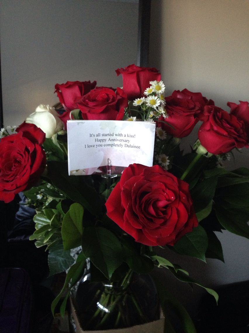 I have the most amazing man in my life... And these are what I received today with the message... There are 12 red roses.. 1 for each month we have been together... And 1 white rose .. For the years to come ... ... I love you Mark.. With all of me XOXO