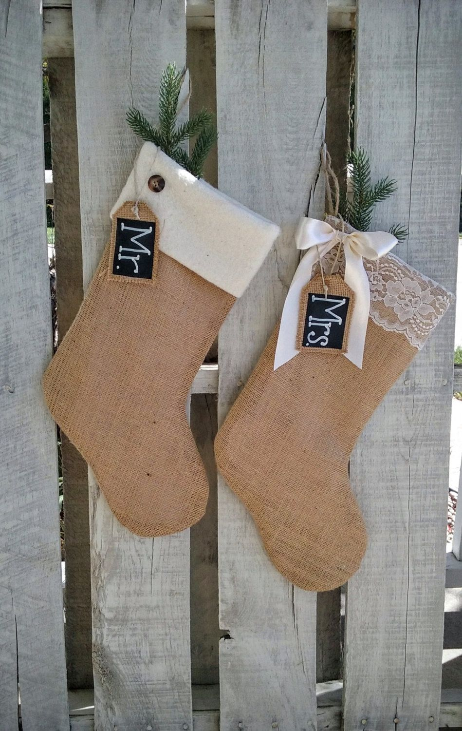 Mr and mrs burlap stocking set christmas stockings rustic christmas stockings christmas wedding gift holiday couple gift by prairieburlapliving on