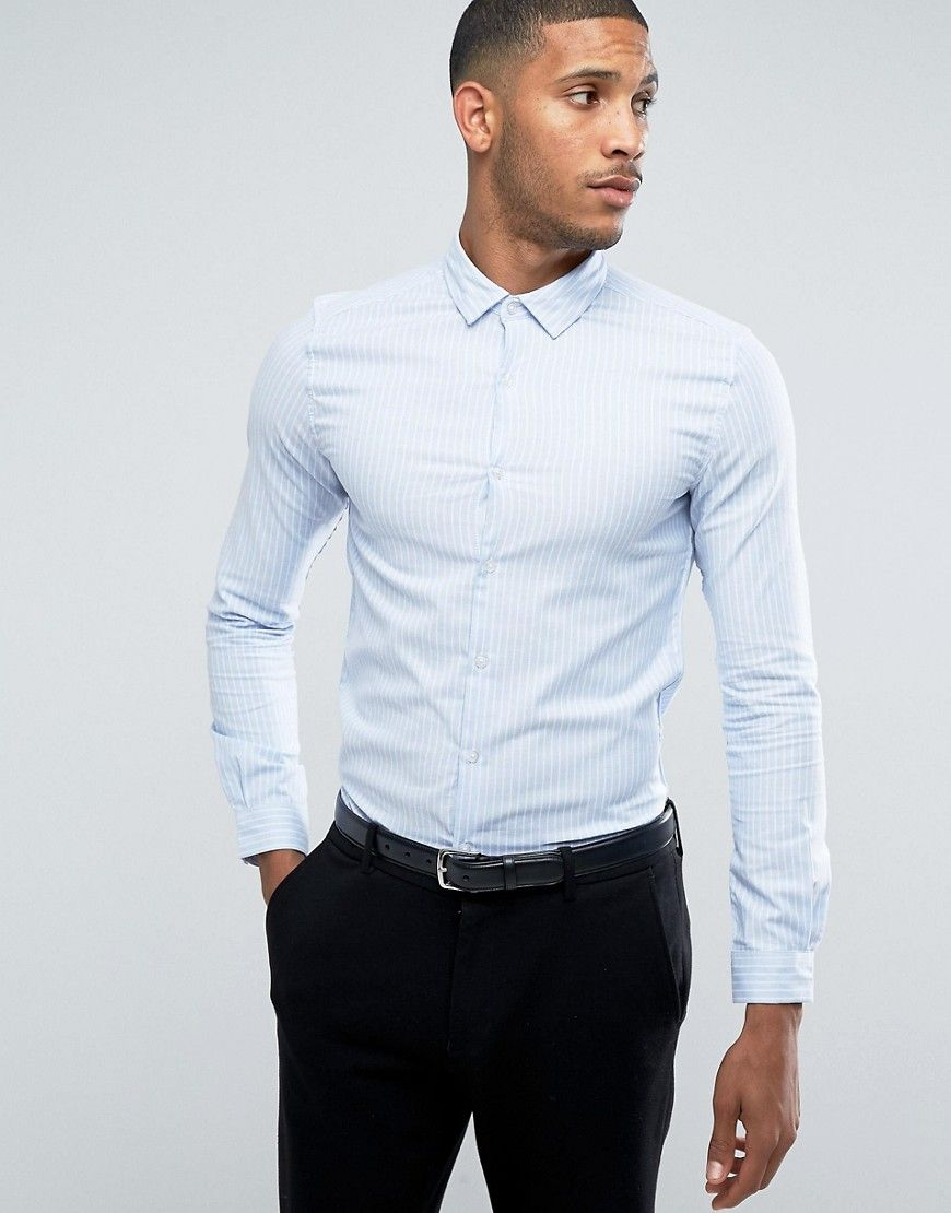 Get this Asos's striped shirt now! Click for more details. Worldwide  shipping. ASOS SMART Skinny Oxford Stripe Shirt In Blue - Blue: Shirt by  ASOS, ...