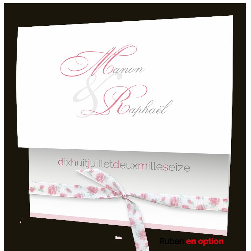 Faire part mariage chic & pas cher Pochette blanche et bande rose