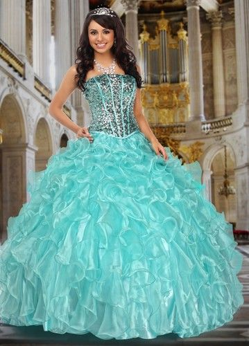 16d74ab1938 Sensational full skirted ball gown in organza with sequins