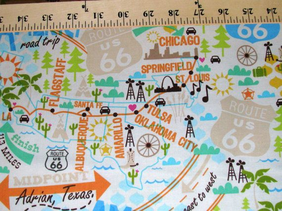 Route 66 Map fabric America Road Trip US Highway East to West
