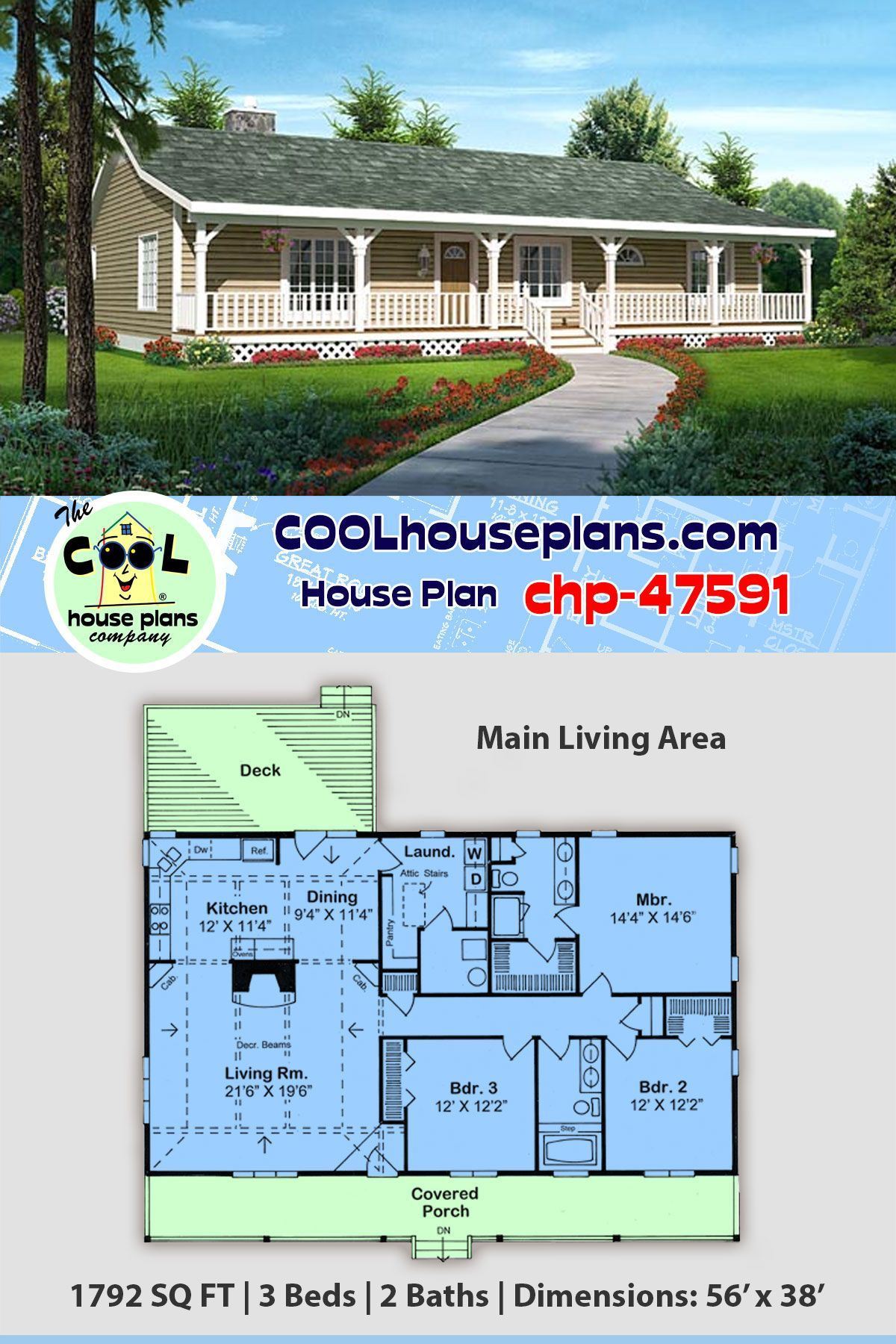 Affordable Home Plan Three Bedroom Ranch Design Chp 47591 At Cool House Plans Affordable House Plans House Plans Ranch House Plans