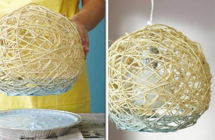 Картинки по запросу как сделать лампу из веревок | Лампа ...