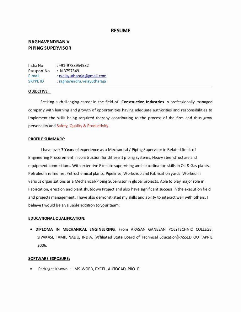 Customer Service Supervisor Resume Sample Unique Piping Supervisor Resume Resume Engineering Resume Resume Design