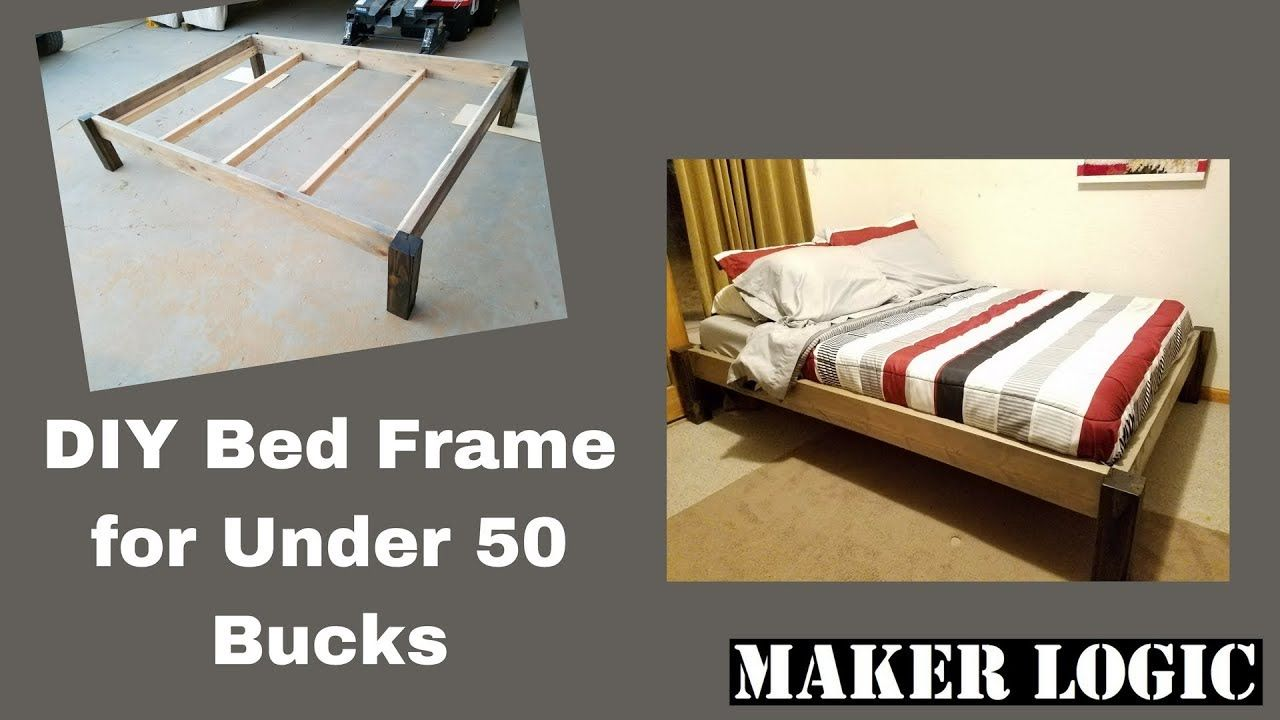 Diy Wood Bed Frame Under 50 Bucks Youtube Furniture Wood