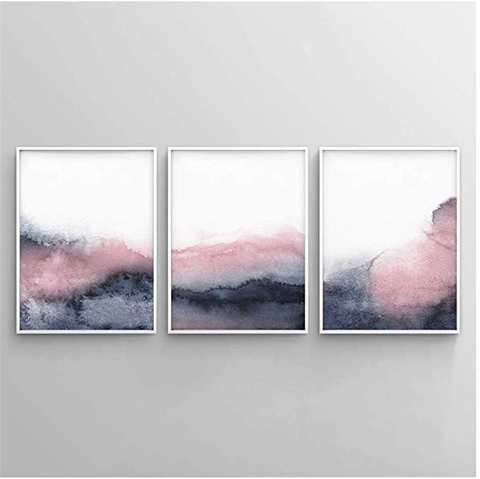 Amazon Com Yiyaofbh Canvas Wall Art Canvas Decoration Pink Blue Abstract Poster Prints Blush Pink And Grey Wall Grey Wall Art Wall Art Gray Wall Art Canvases