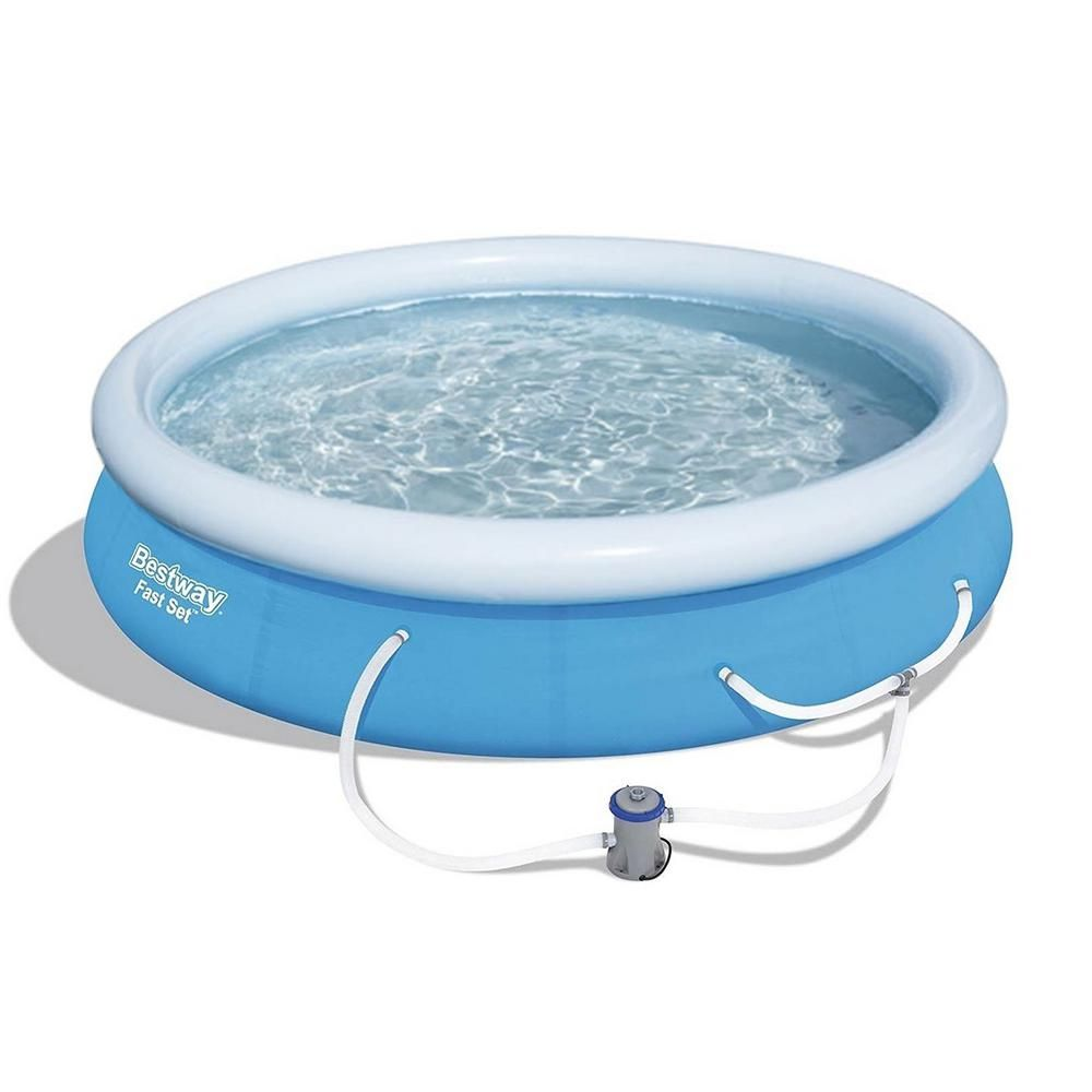 Bestway 12 Ft X 30 In Round Shape Fast Set Inflatable Above Ground Swimming Pool With Filter Pump 57275e Bw In 2020 Swimming Pools Above Ground Swimming Pools In Ground Pools