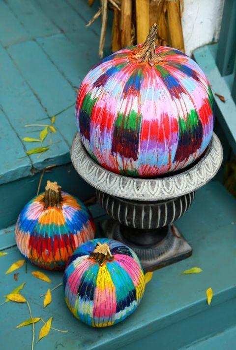 Oil pastel pumpkin, Pumpkin painting ideas, Pumpkin no-carve ideas - halloween pumpkin painting ideas