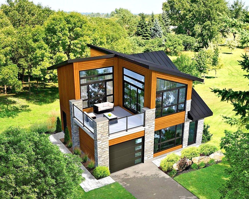 Modern House Building Plan Blueprints / PDF 910 SF New