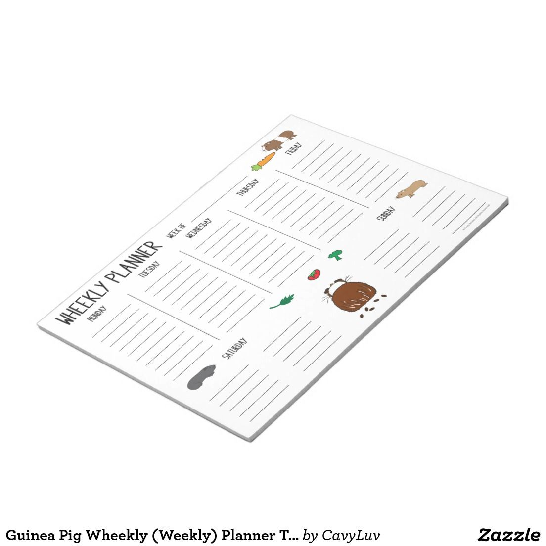 guinea pig wheekly weekly planner to do list notepad [ 1104 x 1104 Pixel ]