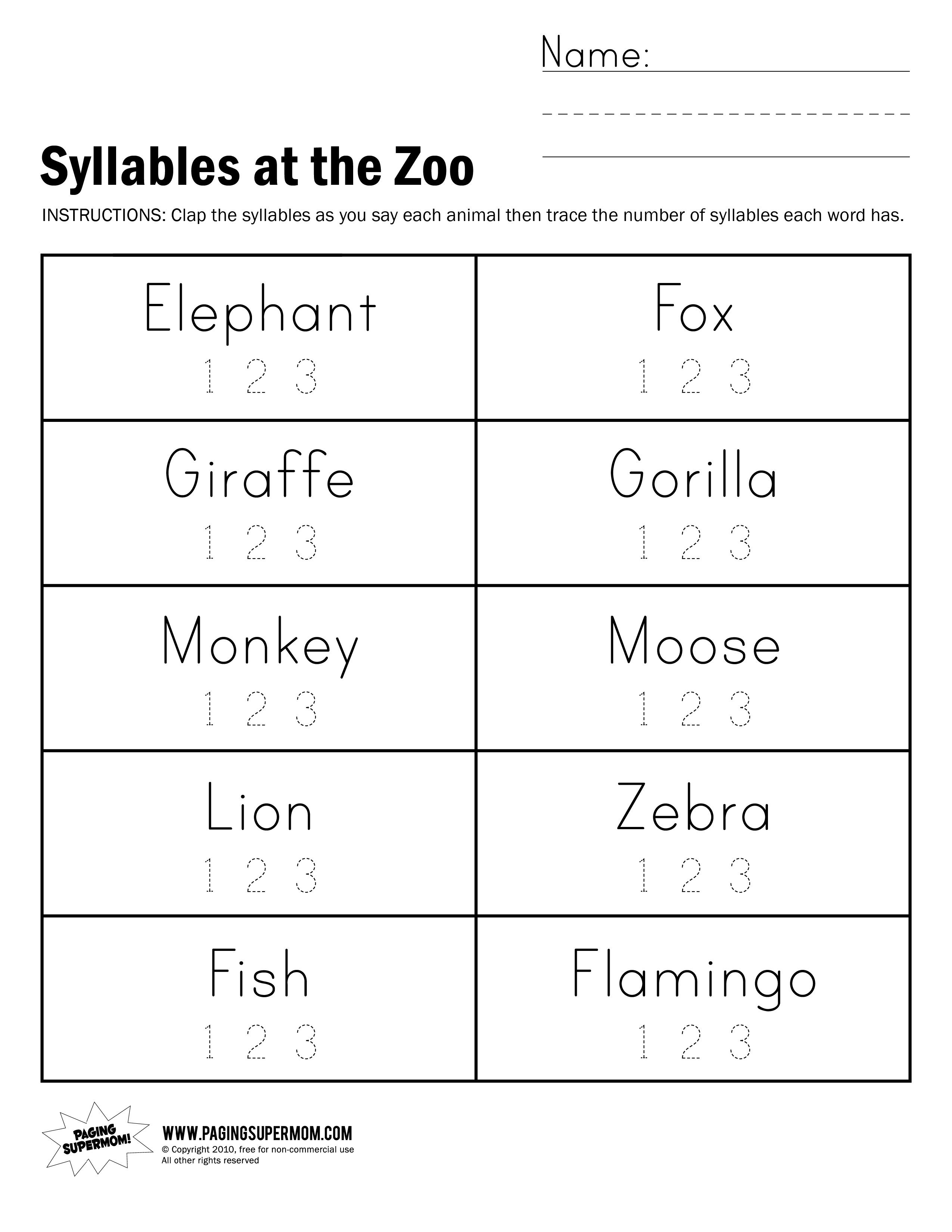 Syllables at the Zoo Worksheet   Syllable worksheet [ 3300 x 2550 Pixel ]