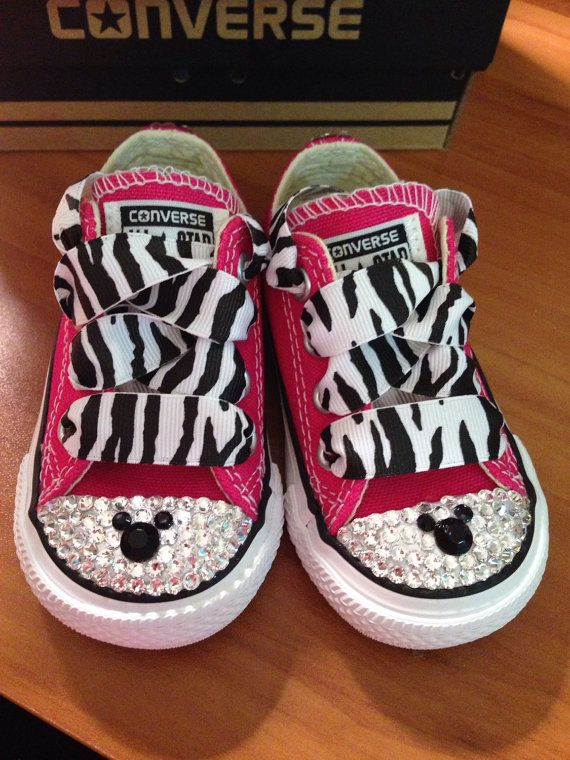 3e9d9f4911a702 Bright Pink Minnie Mouse Zebra Bling Converse by Munchkenzz ...
