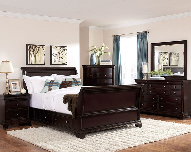 Inglewood Dark Cherry Bedroom Set With Sleigh Bed. Side Rails Have Storage  Drawers. Queen Or King Size Bed, Dresser, Mirror, Night Stand, Tall Chest,  ...