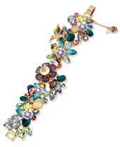 Betsey Johnson Gold-Tone Multi-Stone Flower Bracelet