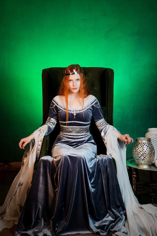 Silver gray elven dress, romantic fantasy gown, wedding
