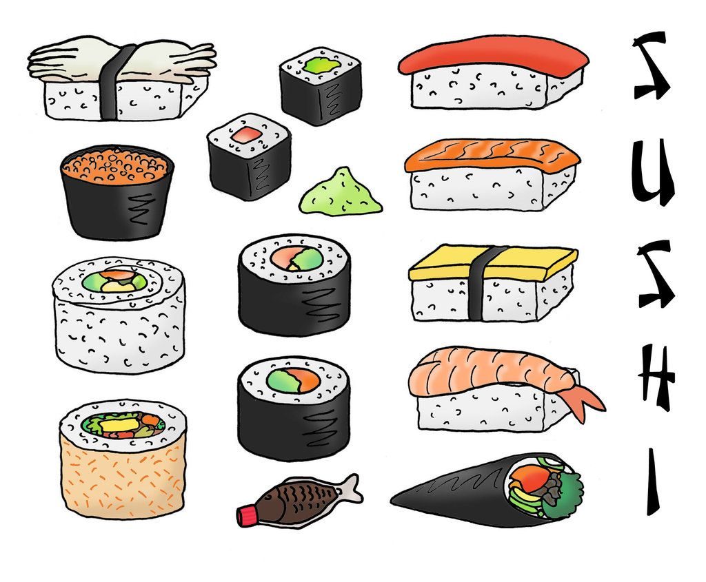 It is a picture of Exceptional Sushi Drawing Easy