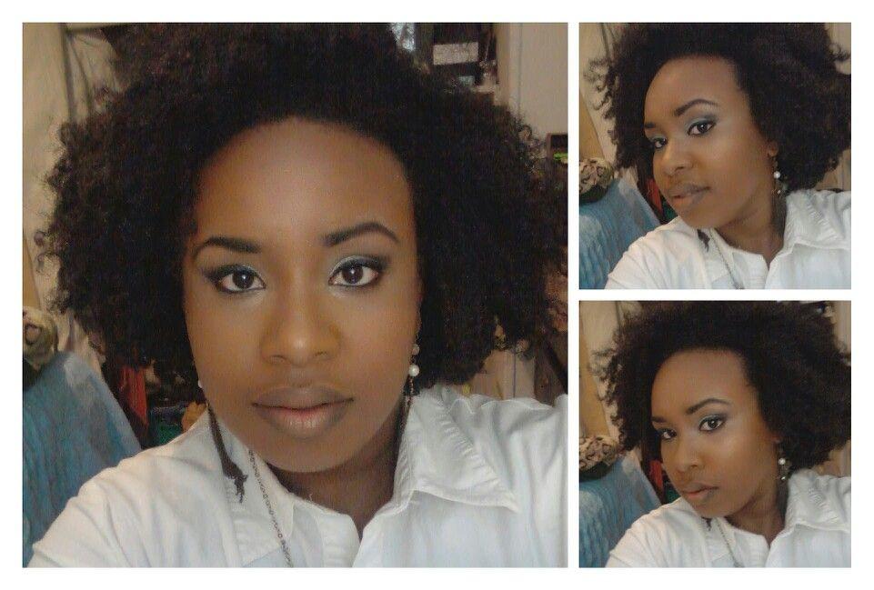Bantu knot out and natural makeup #silver and black smoke eye