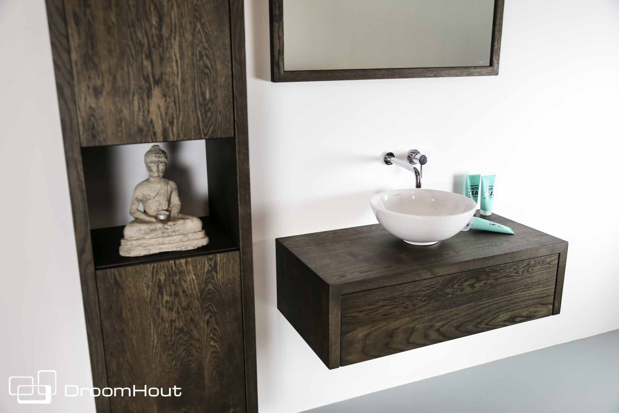 Badkamermeubel Met Badkamerkast : Badkamermeubel badkamerkast eikenhout spa wonen en design