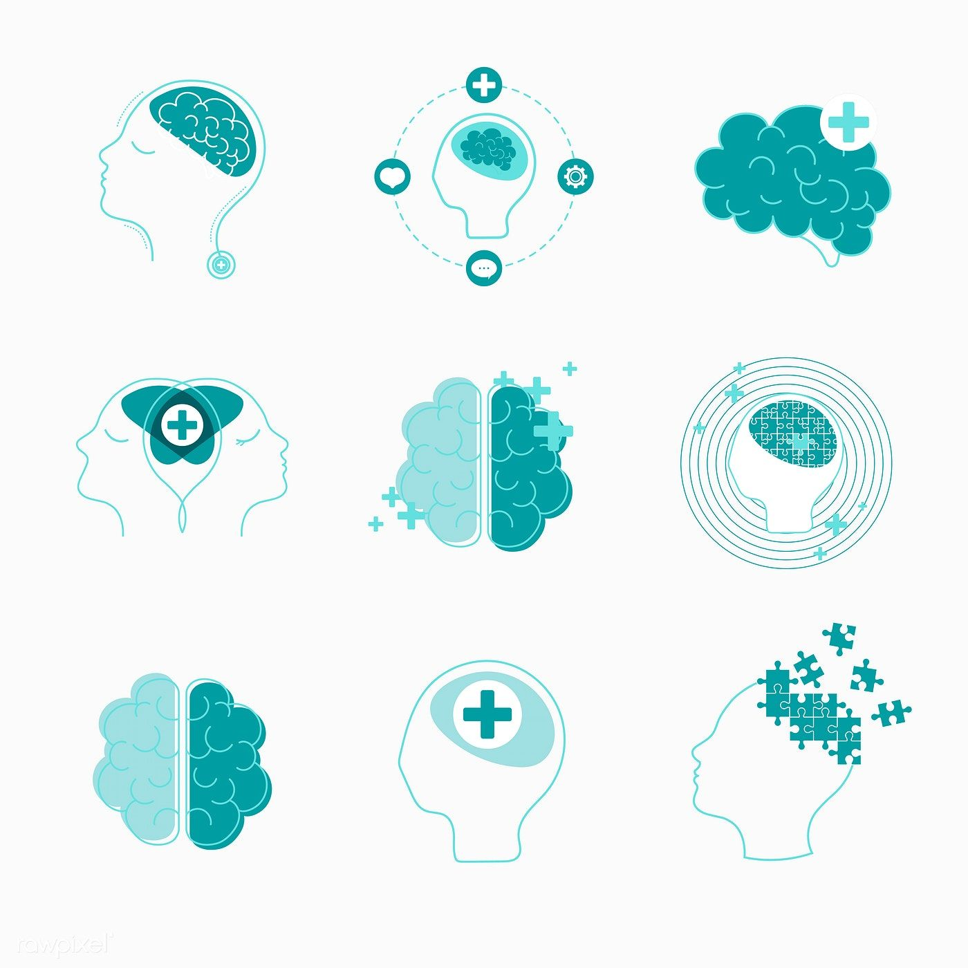 Brain and mental health icons vector set free image by