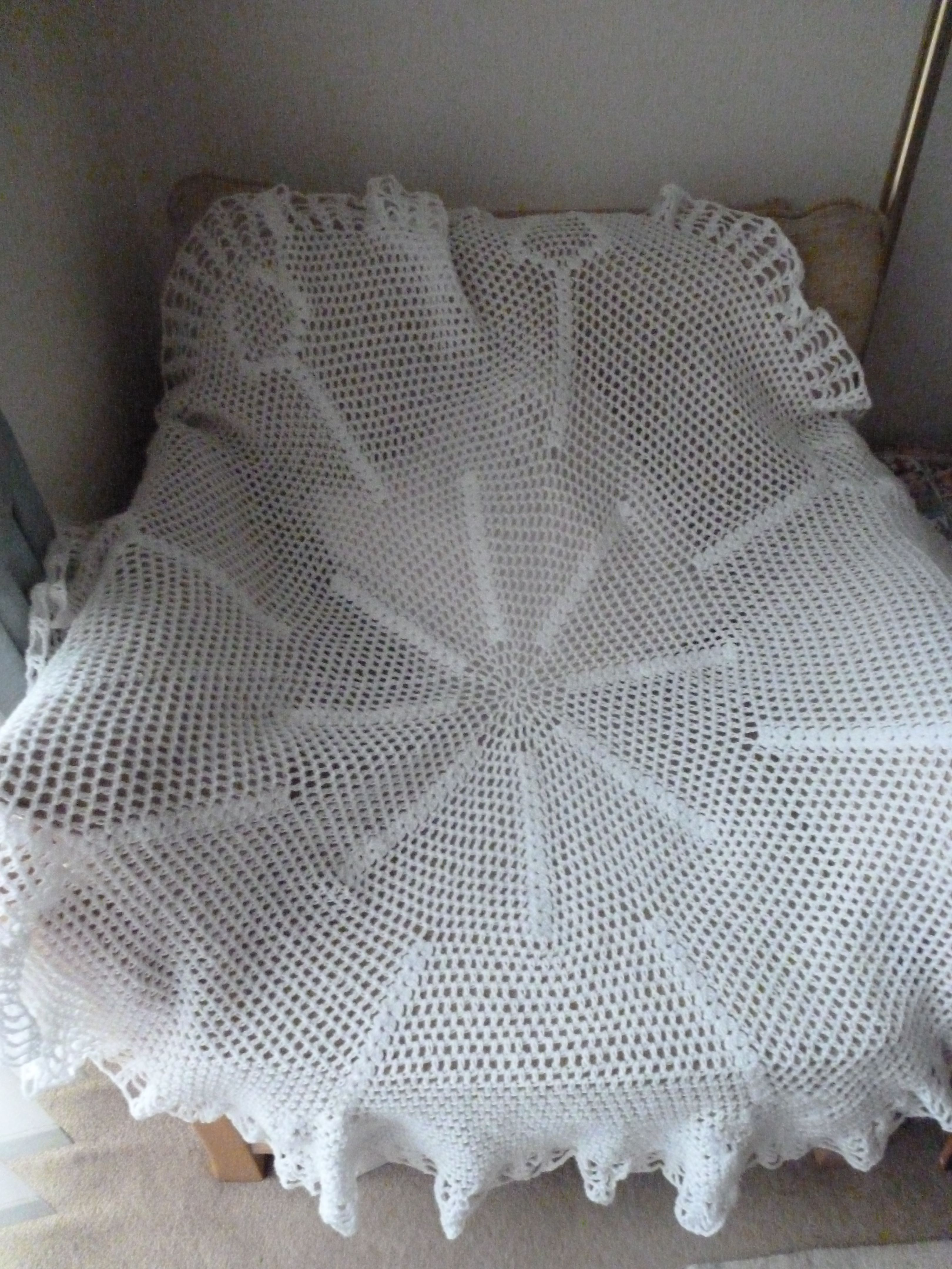 Crocheted christening shawl I made from a vintage pattern - in 4ply ...