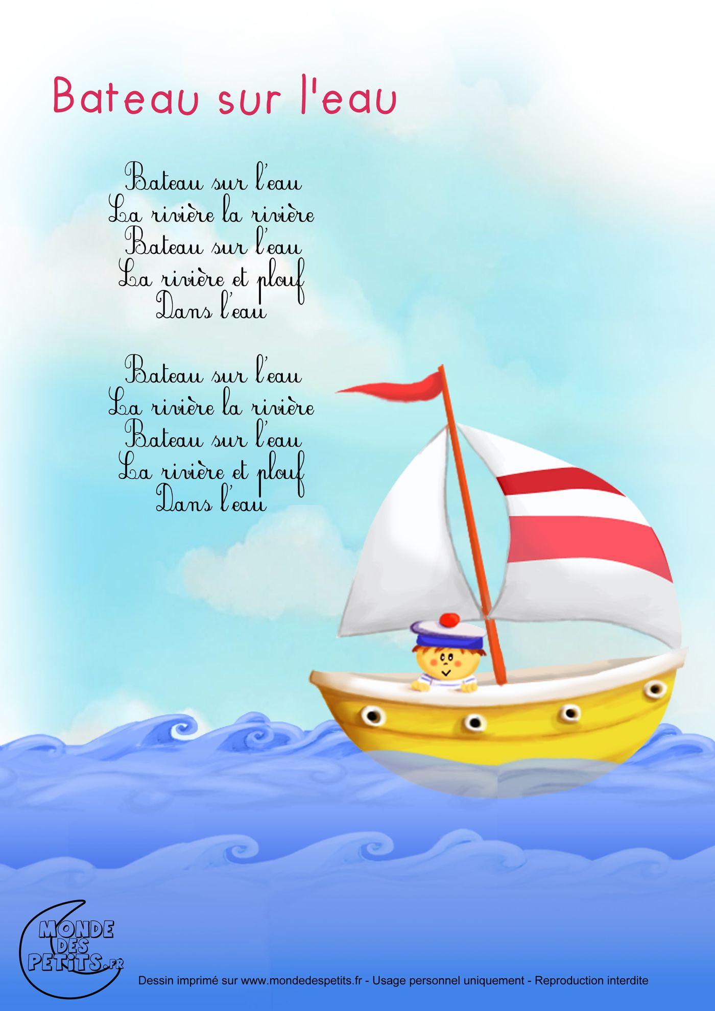 Paroles bateau sur l 39 eau comptines enfants pinterest for Dans un petit bateau