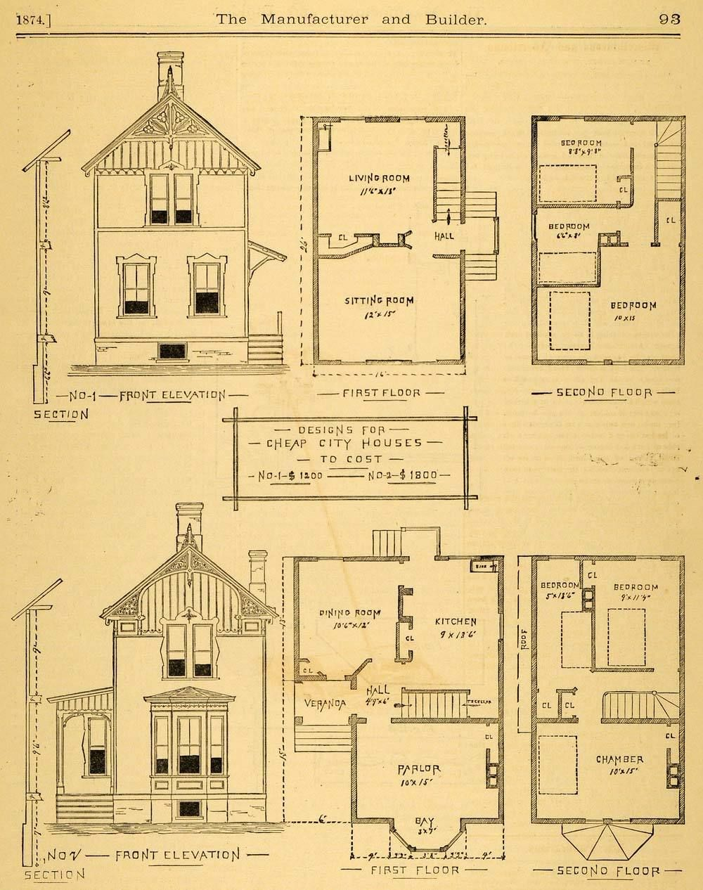 1874 Print City House Architectural Design Floor Plans Victorian Mab1 Floor Plan Design City House Victorian House Plans