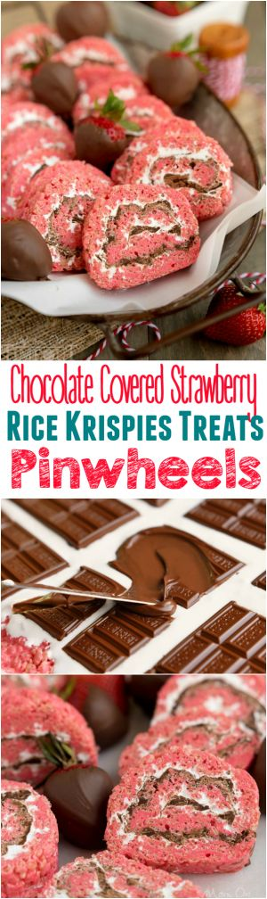 Chocolate Covered Strawberry Rice Krispies Treats Pinwheels are the perfect treat for your next party or picnic! Pretty and pink and so yummy to eat, this easy dessert is guaranteed to become a new family favorite! | http://MomOnTimeout.com