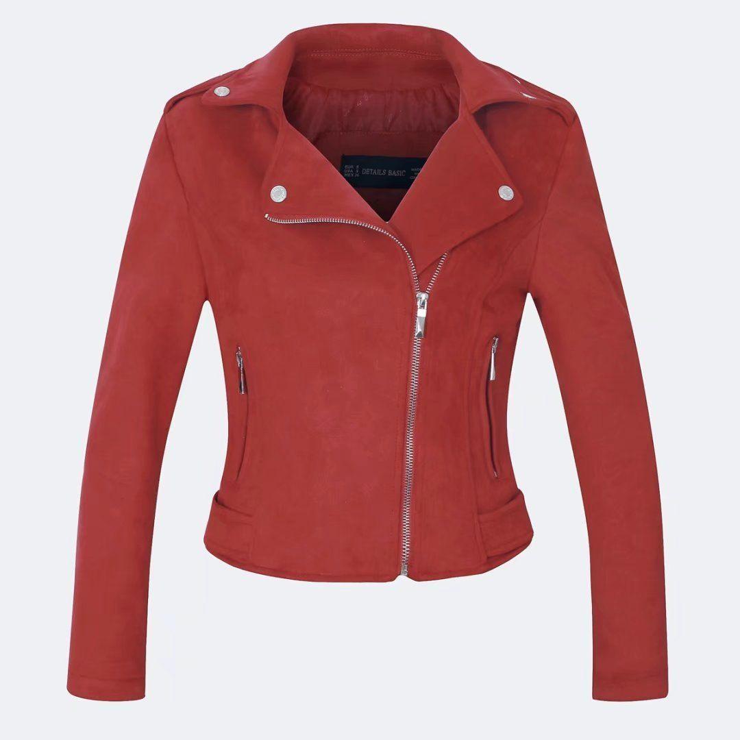 Womens PU Leather Jacket Biker Motorcycle Zip Up Cropped Blazer Coat Outwear