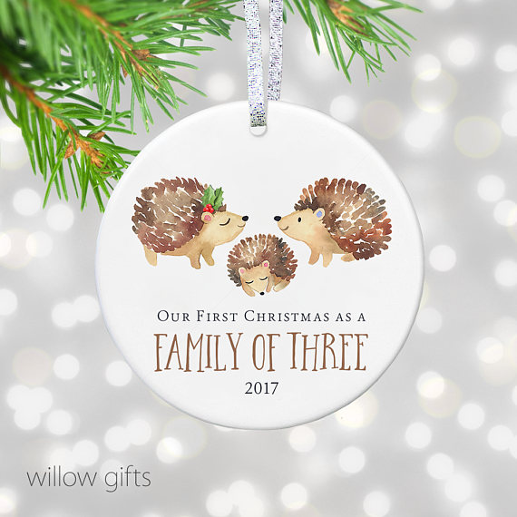 new parents gift for new baby ornament first christmas as family of three christmas ornament newborn gift woodland rustic ornament