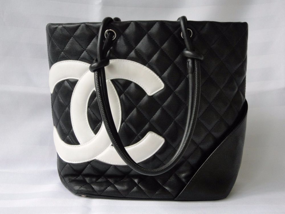 CHANEL black / white CC logo QUILTED cambon LEATHER pink int. tote bag purse in Clothing, Shoes & Accessories, Women's Handbags & Bags, Handbags & Purses | eBay