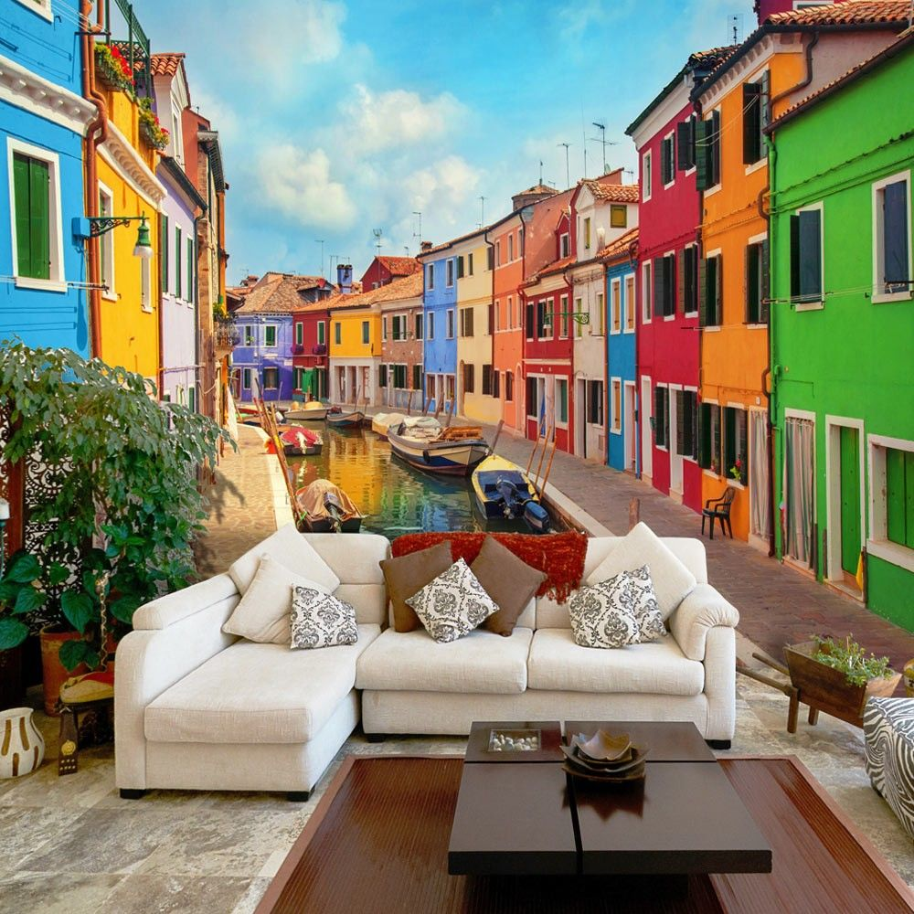 Fotomurale colorful canal in burano carte da parati for Carta parati murales
