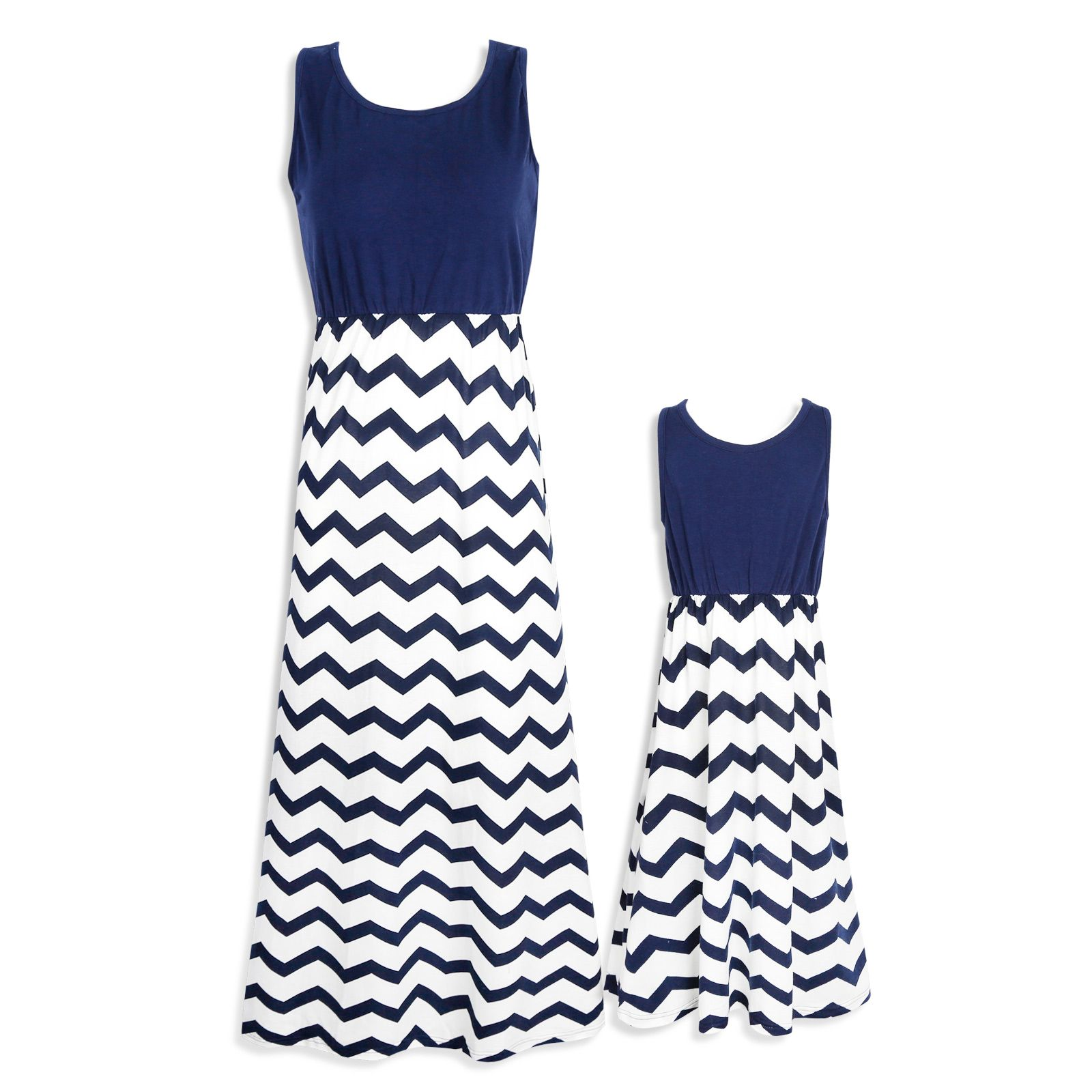 58368591d Check out my new Mommy and Me Stripes Contrast Sleeveless Maxi Dress ,  snagged at a crazy discounted price with the PatPat app.