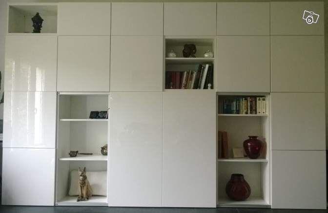 Grand Meuble Tv Et Rangement Blanc Besta Ikea Ameublement