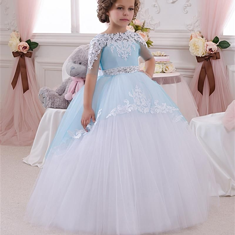 Little flower girls dresses blue and white ball gown for Wedding dresses for young girls