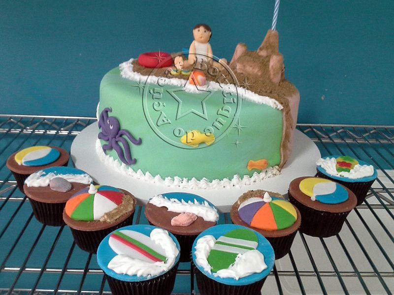 Bolo-Decorado-Praia/Beach Cake