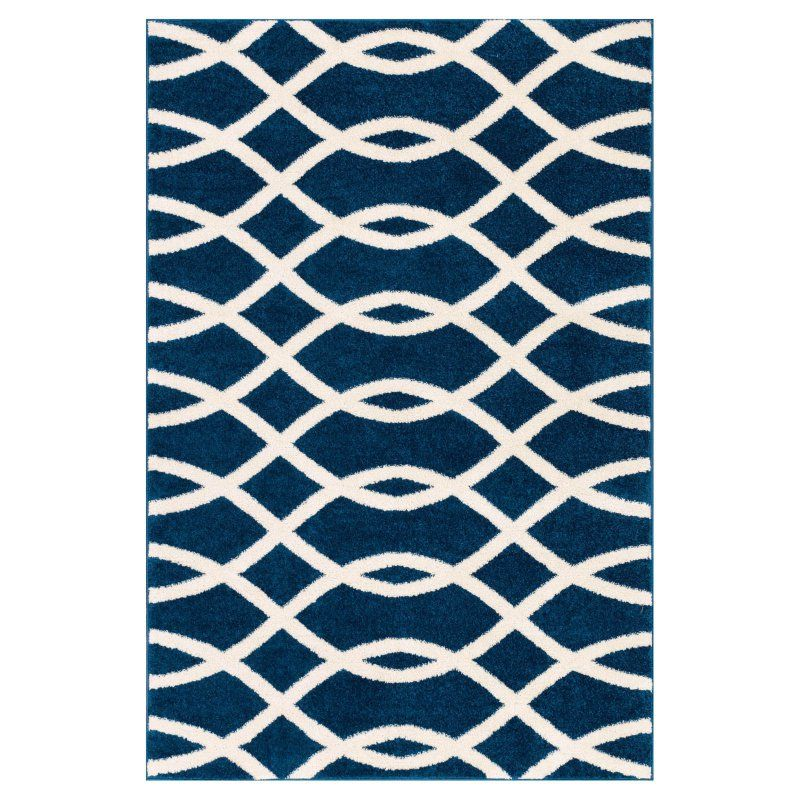 Well Woven Mystic Poofy Indoor Area Rug Blue / White MC