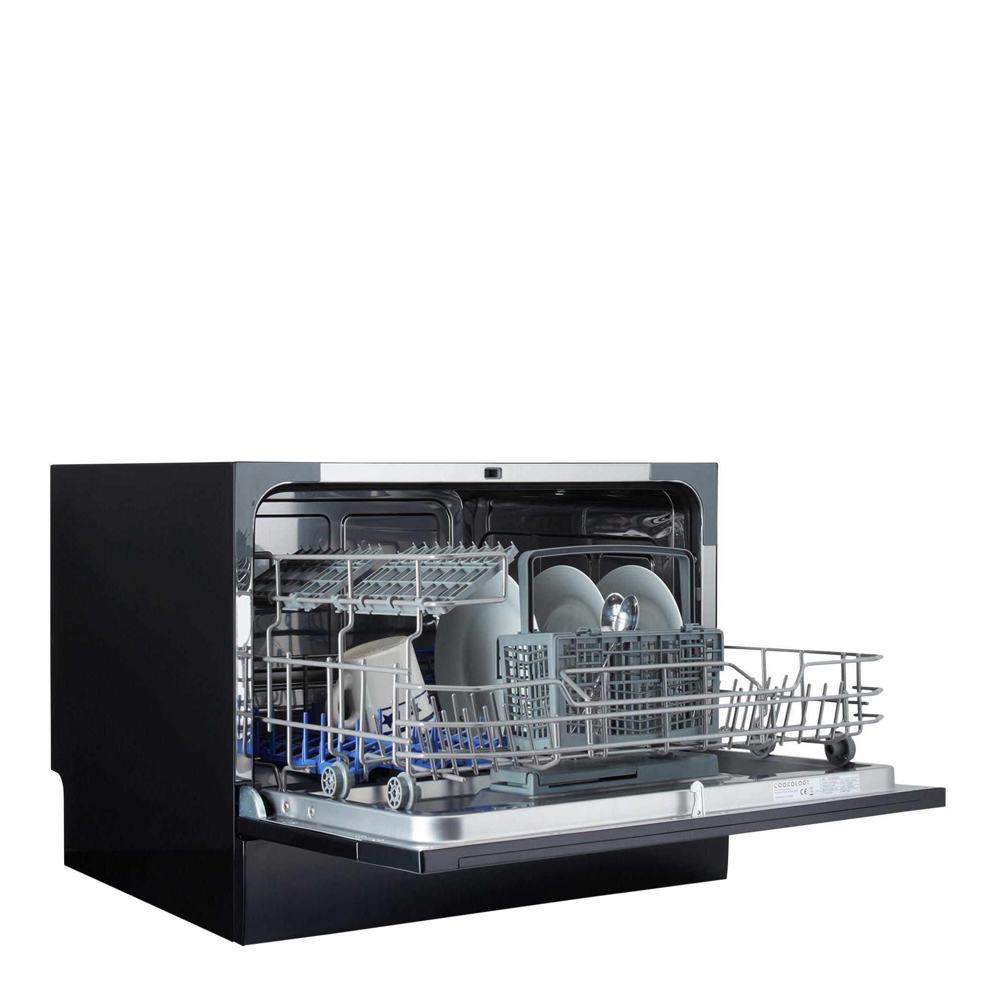 Cookology Black Table Top Mini Dishwasher Dishwasher Sizes