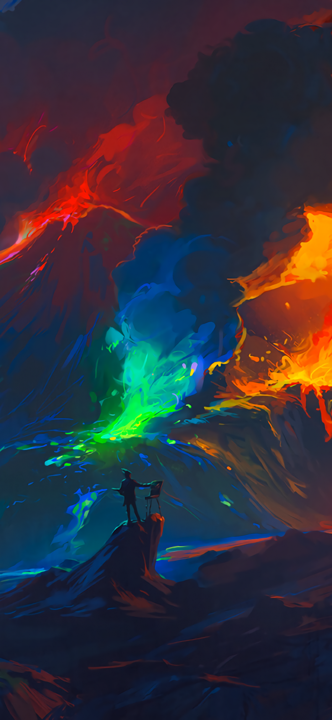 Artist, volcano eruption, waves, colorful, fantasy, art