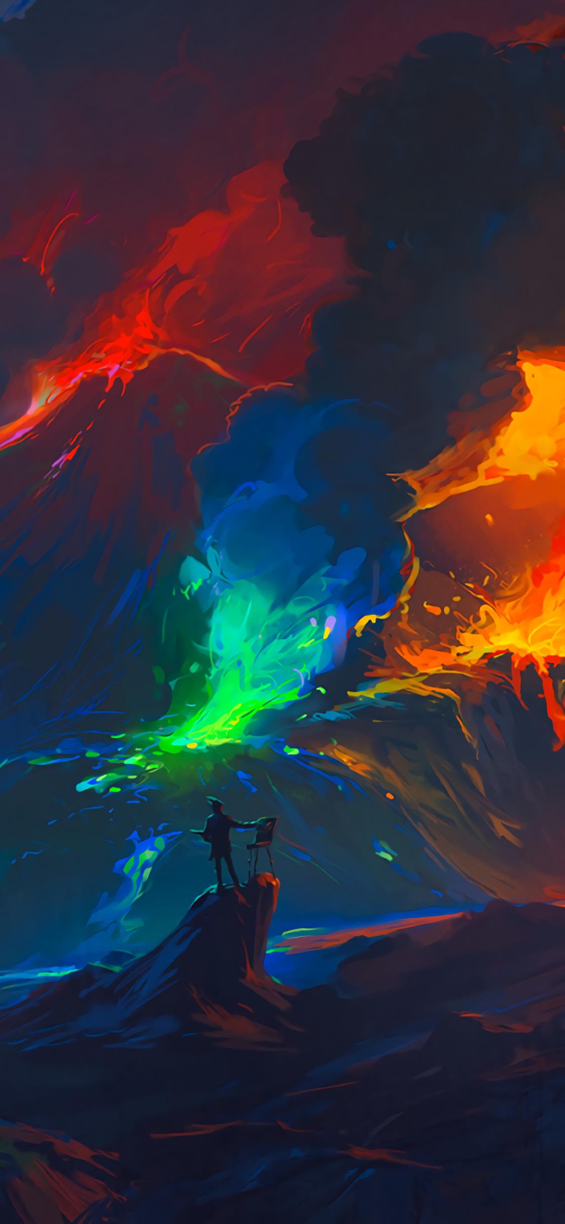 Artist Volcano Eruption Waves Colorful Fantasy Art Wallpaper Android Wallpaper Camera Wallpaper Qhd Wallpaper