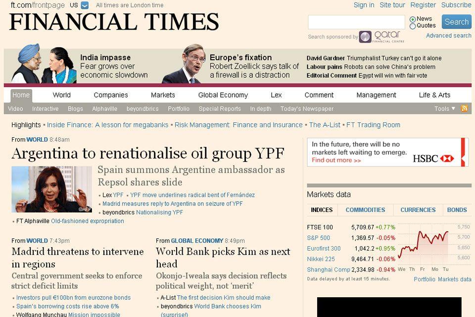 Expropiación de YPF, en Financial Times (Gran Bretaña)