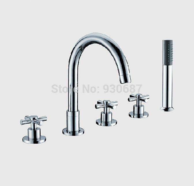 Modern Chrome Polish Bathroom 5pcs Tub Faucet Three Handles Mixer