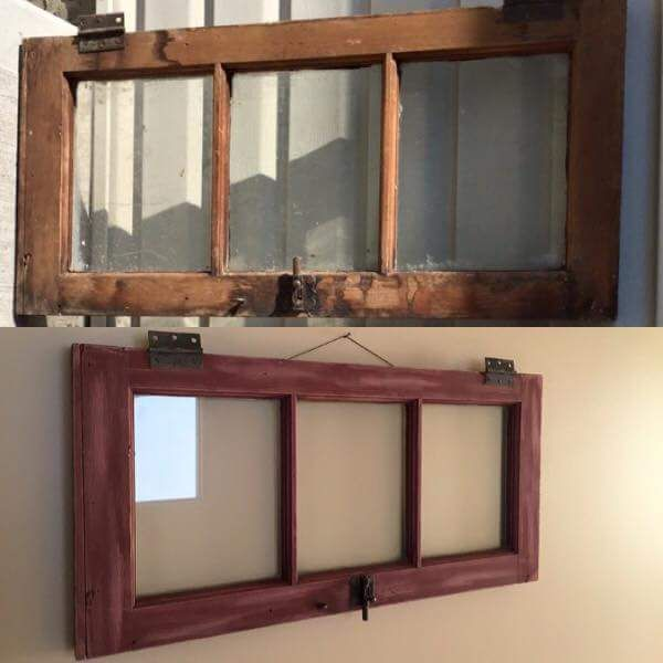 Before And After An Old 3 Pane Window Frame Painted In As Primer Red Distressed And Ready To Hold 8x10 Photos The Decor Vault Window Frame Windows Decor