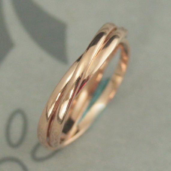 14K Rose Gold Rolling RingRose Gold Interlocking RingThree 15mm