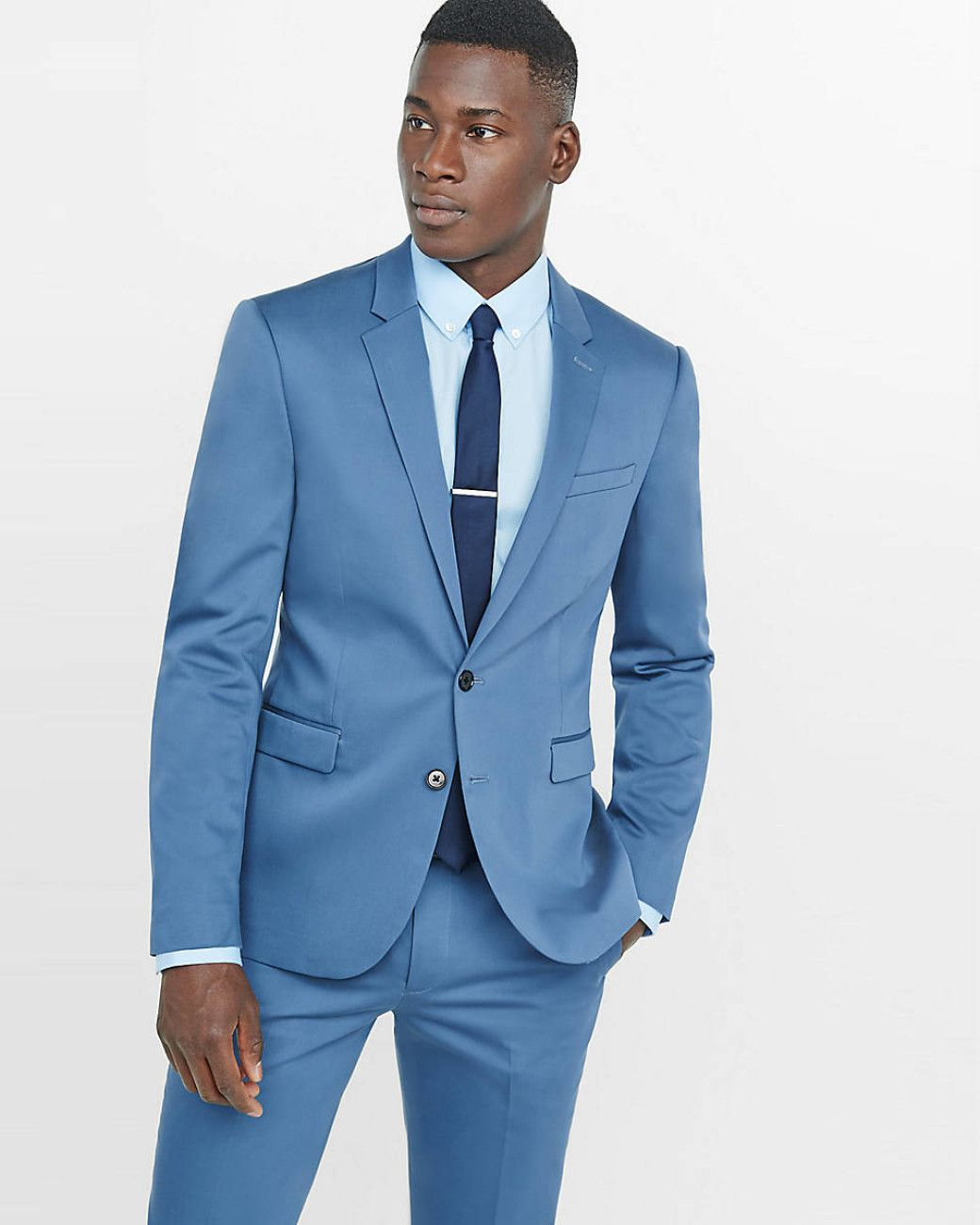 Men's Skinny Innovator Cotton Sateen Blue Suit Jacket | Blue suit ...